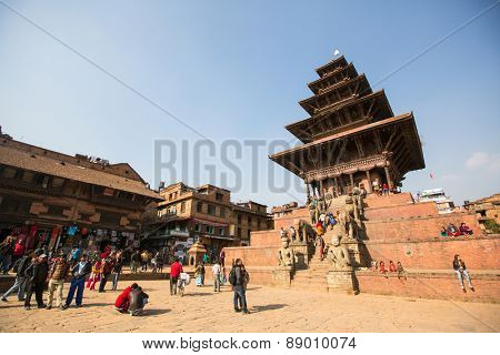 BHAKTAPUR, NEPAL - CIRCA DEC, 2013: Bhaktapur Durbar Square is the plaza in front of the royal palace of the old Bhaktapur Kingdom, 1400m above sea level, are UNESCO World Heritage Sites.