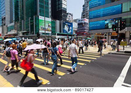Busy crosswalk in Hong Kong