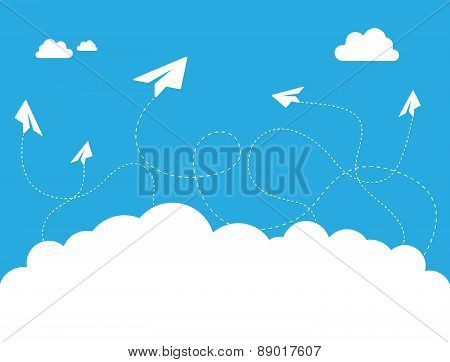 Paper Plane Cloud On Blue Sky Vector Design Concept