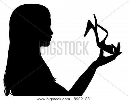 Girl Holding Shoe
