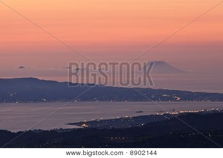 Stromboli At Sunset