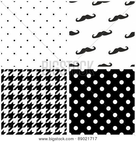 Tile vector pattern set with black and white dots, houndstooth pattern and mustache background