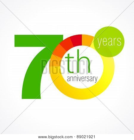 70 years old round logo. Anniversary year of 70 th vector chart template medal. Birthday greetings circle celebrates. Celebrating numbers. Colorful digits. Figures of ages, cut sections. Letter O yellow.