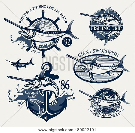 Vintage swordfish  sea fishing emblems