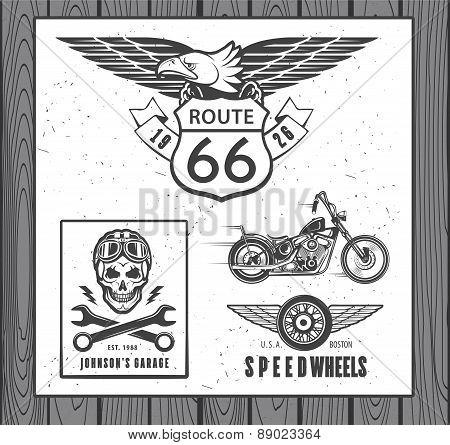 Set of vintage motorcycle labels