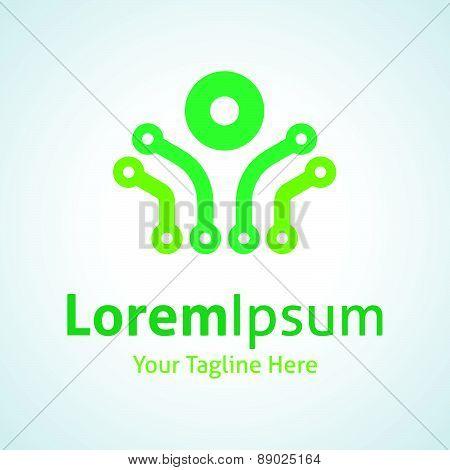 Green circuit technology energy connection vector logo icon