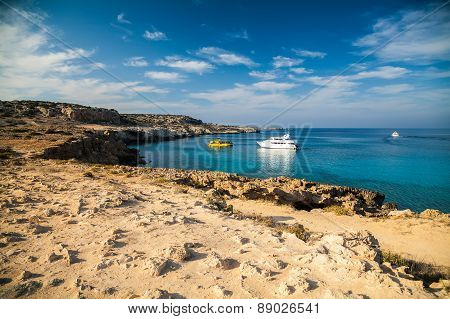 vessels in the lagoon at the natural park Cape Greko Cyprus poster