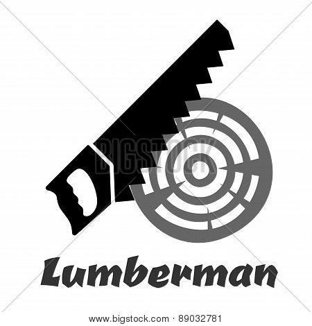 Hand saw icon cutting wood log