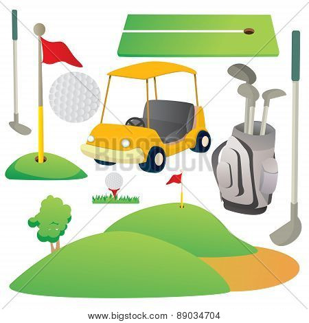 Golf Cartoon Elements