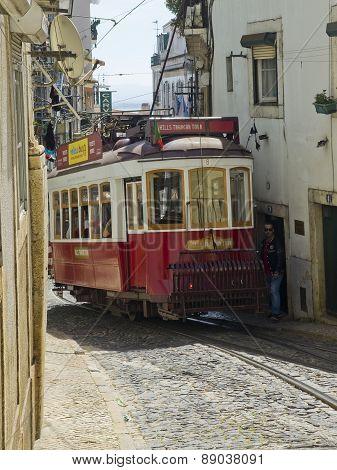 Lisbon Tram In Alfama District, Lisbon.