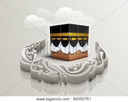 3D arabic calligraphy text Ramazan-ul-Mubarak (Happy Ramadan) in moon shape with Qaba Shareef for holy month of muslim community festival celebration.