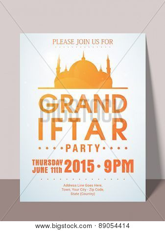 Holy month of muslim community, Ramadan Kareem Iftar party celebration invitation card with date, time and place details. poster
