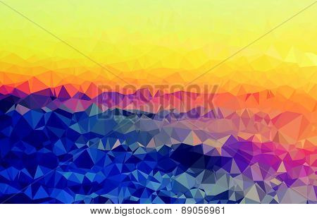Background modern texture triangle geometry wrinkly colorful sunset valley