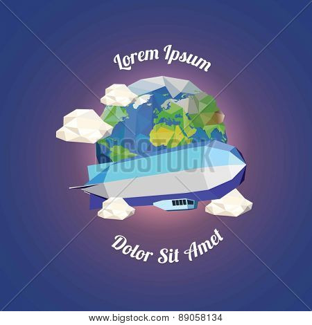 Low poly zeppelin  near earth with clouds. vector illustration