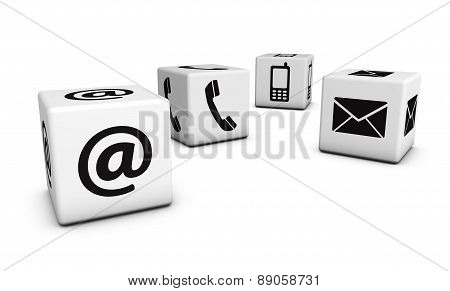 Web Contact Us Icons On Cubes