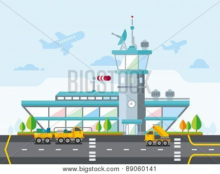 Airport Modern Flat Design Vector Illustration