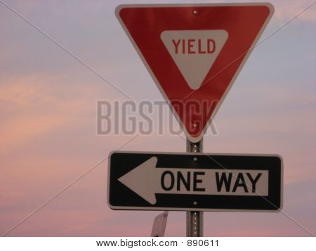 Yield One Way Sign