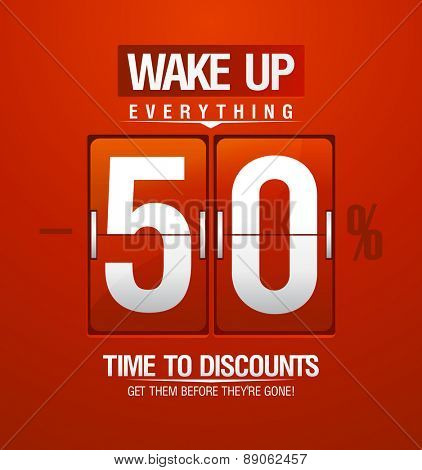 Wake up -50% sale design for coupon in shape of analog flip clock.