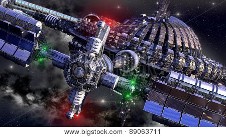 Alien spaceship, with central dome and gravitation wheel, in interstellar deep space travel, for futuristic or fantasy backgrounds poster