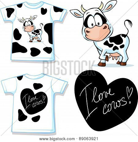 Shirt With Cute Black And White Cow - Vector Illustration