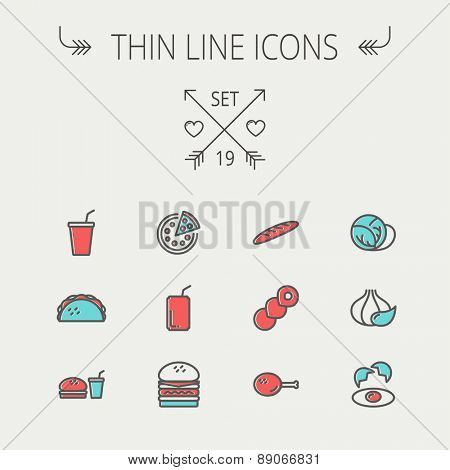 Food and drink thin line icon set for web and mobile. Set includess- onion, egg, chicken, meal set, soda, burger, taco icons. Modern minimalistic flat design. Vector icon with dark grey outline and