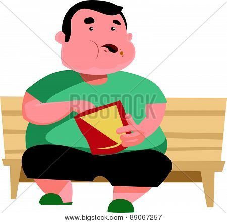 Chubby man eating and sitting vector illustration cartoon character