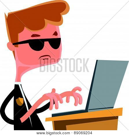 Investigation agent typing at lap top vector illustration cartoon character