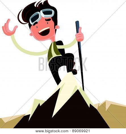 Conquer the mountain peak top vector illustration cartoon character