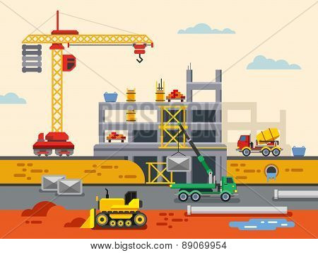 Building Construction Flat Design Vector Concept Illustration.