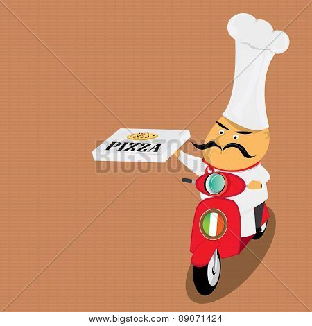 Funny italian chef delivering pizza on moped. pizza delivery boy on scooter poster