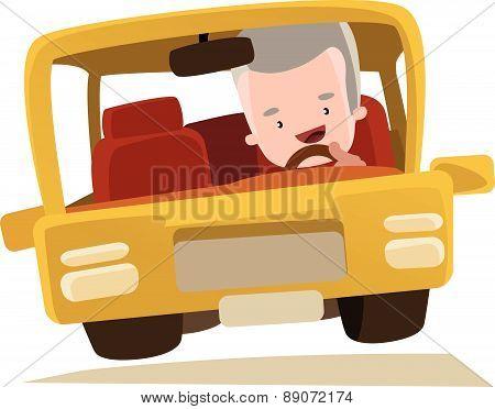Grandpa driving a car vector illustration cartoon character