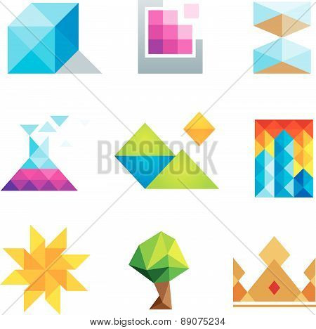 Extremely creative beautiful design polygons geometric art icon set