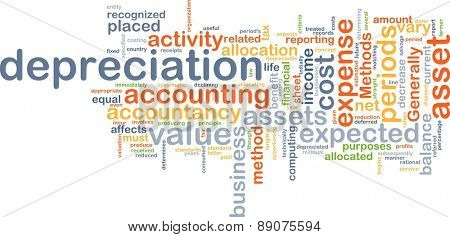 Background text pattern concept wordcloud illustration of depreciation accounting