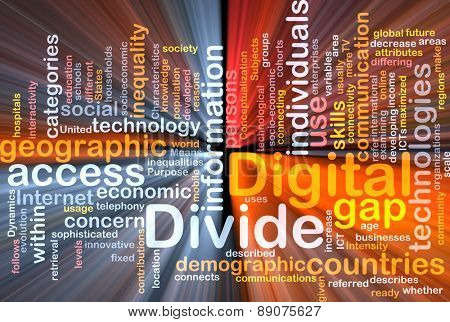 Background text pattern concept wordcloud illustration of digital divide glowing light poster
