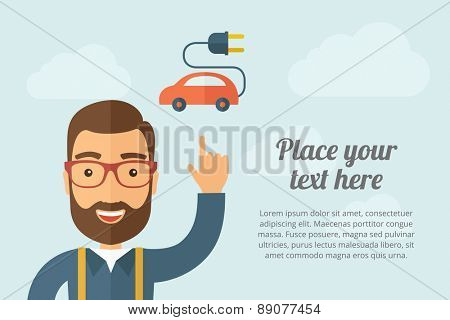 A Man pointing the electric car icon. A contemporary style with pastel palette, light blue cloudy sky background. Vector flat design illustration. Horizontal layout with text space on right part.