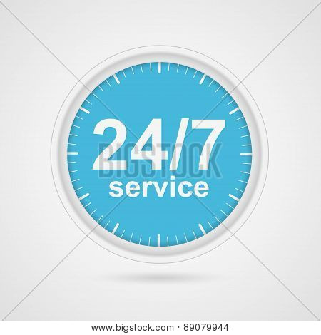 24 hours 7 days customer service icon. Vector illustration EPS 10. poster