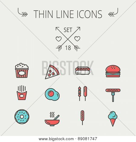 Food  thin line icon set for web and mobile. Set includes- cupcakes, spoon and fork, plate, kettle, casserole, hot meal, frying pan icons. Modern minimalistic flat design. Vector icon with dark grey