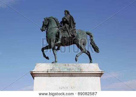 Equestrian statue of Louis XIV on Place Bellecour in Lyon, France poster