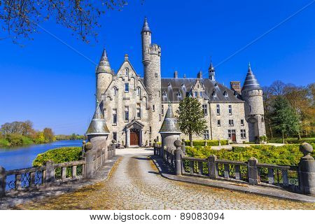 castle from fairytale. Belgium, Marnix