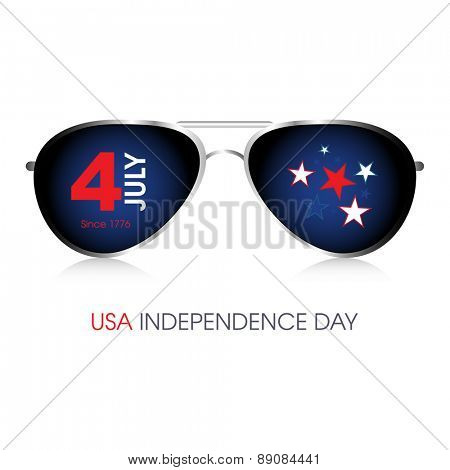 A pair of aviator sunglasses with 4th July American Independence Day design.