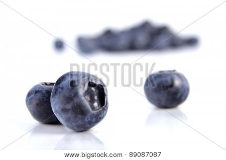 Blueberries on white background - close up