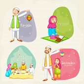 Happy Muslim people celebrating and following their rituals on occasion of holy month Ramadan Kareem celebration. poster