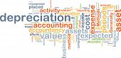 Background text pattern concept wordcloud illustration of depreciation accounting poster