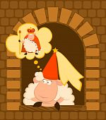king of sheep in a crown with a princess on a background for a design poster
