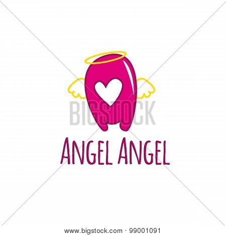 Vector cartoon A letter glossy pink logotype with wings and nimbus