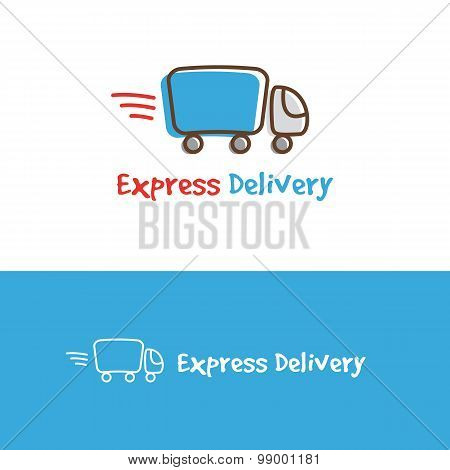 Vector cartoon truck logotype. Express delivery logo.
