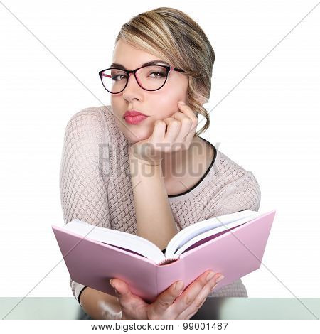 Pretty Teacher With Book Look At Camera