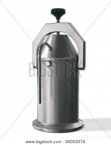 metal retro ussr coffeepot on white background