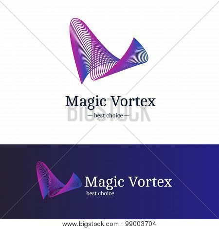 Vector gradient vortex logo. Blue and violet abstract wave logotype