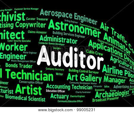 Auditor Job Represents Auditing Word And Inspectors